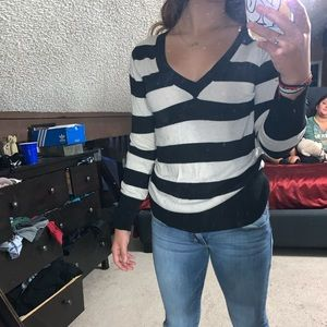womens long sleeve black and tanned striped shirt